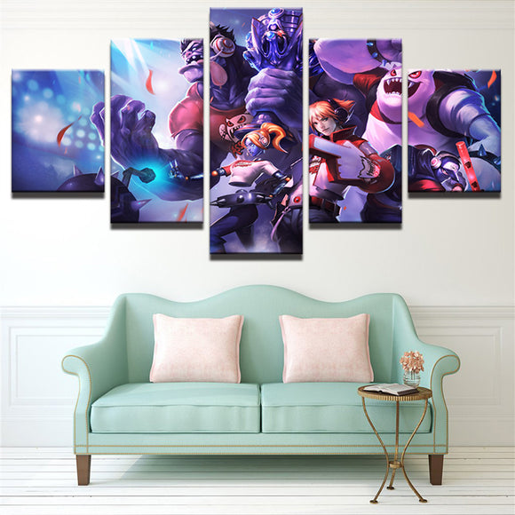 5 Pieces Cartoon Game Characters For Living Room Canvas - Urban Street Canvas