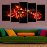 5 Panel The Burning Motorcycle And Person Canvas - Urban Street Canvas
