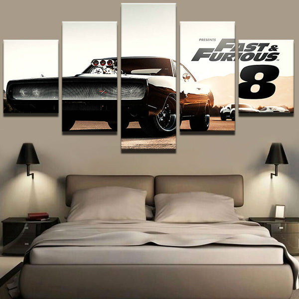 5 Pieces Movie Fast And Furious 8 Canvas - Urban Street Canvas