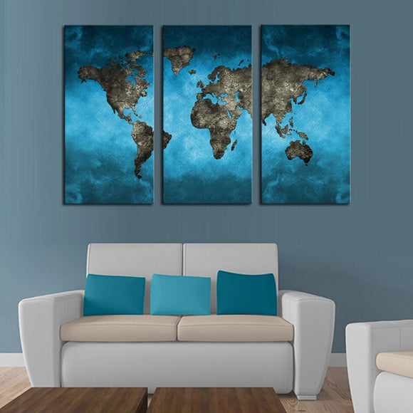 3 Panel Modern World Map Canvas Painting