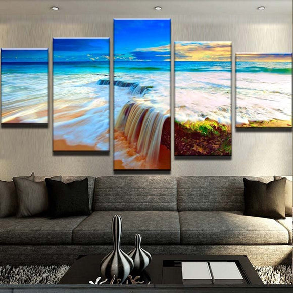 5 Panel Beautiful Waterfall Painting On Canvas - Urban Street Canvas
