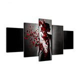 5 Panel Roses Woman Lady Petal Rains Canvas - Urban Street Canvas