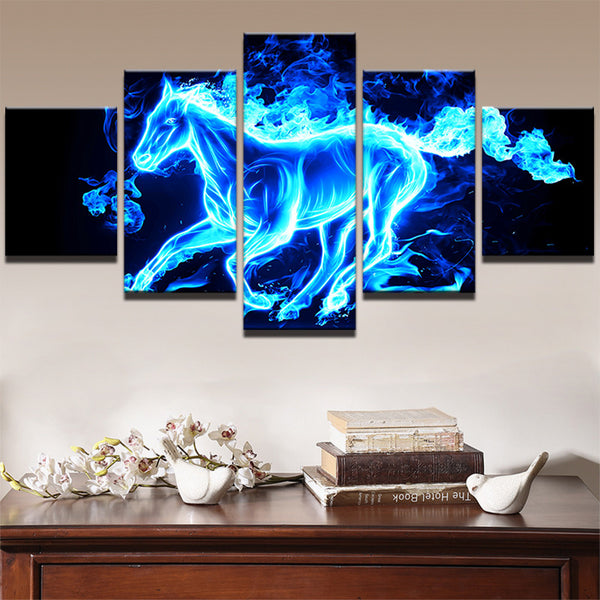5 Panel Blue Ice Flame Horse Canvas - Urban Street Canvas