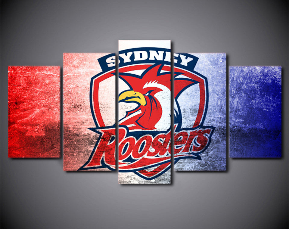 5 Pieces Sydney Roosters Logo Canvas Art - Urban Street Canvas