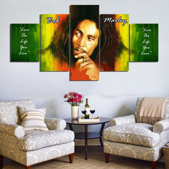 5 Pieces HD Prints Bob Marley on Canvas - Urban Street Canvas