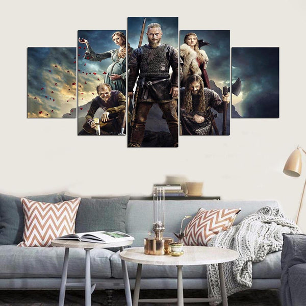 5 Panels Vikings Canvas Painting Modern - Urban Street Canvas
