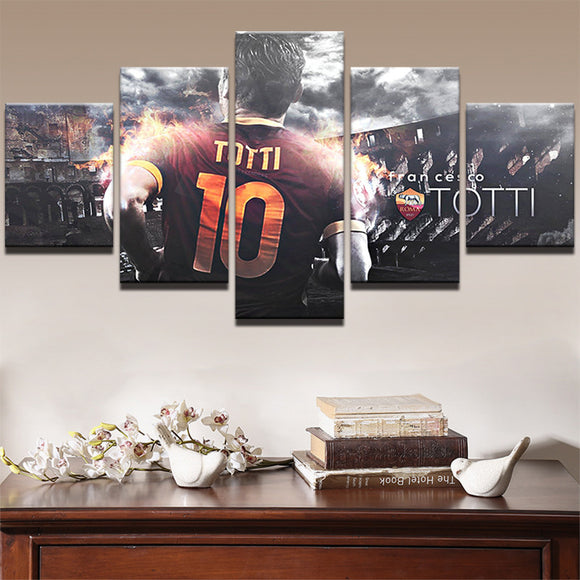 5 Piece Soccer Canvas Art PicturesTotti - Urban Street Canvas