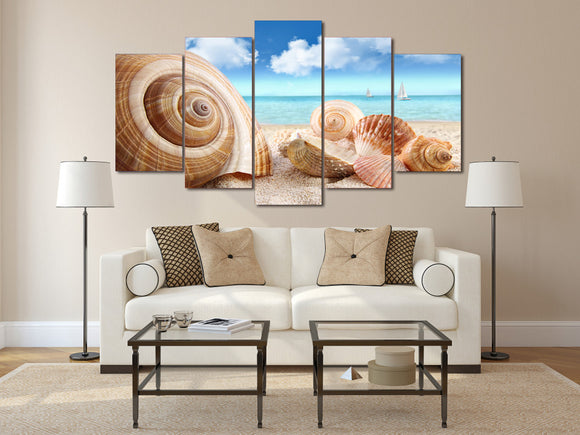 Printed Beach Sea Shells  Painting on Canvas - Urban Street Canvas