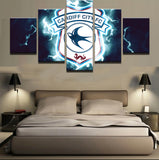 5 Panel Cardiff City Canvas Painting - Urban Street Canvas