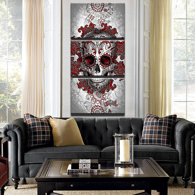 Framed Modern HD 3 Piece Red Abstract Skull Canvas - Urban Street Canvas