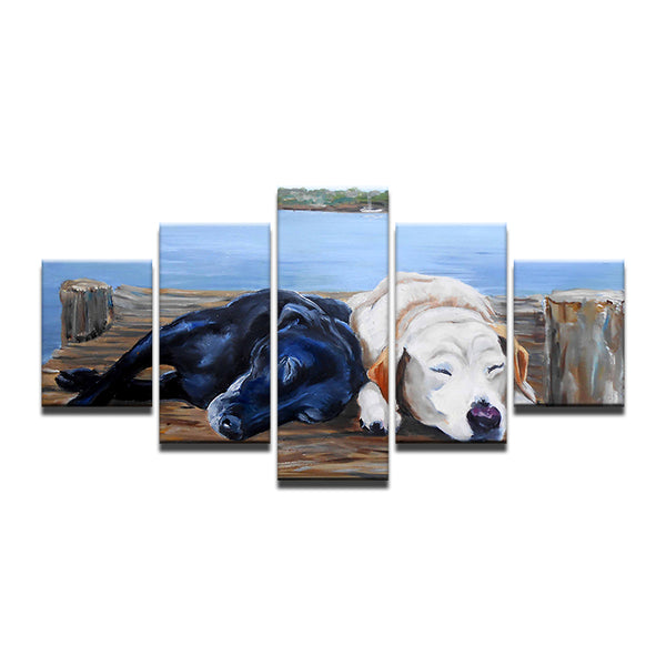 5 Pieces Sleeping Black White Dogs Canvas - Urban Street Canvas