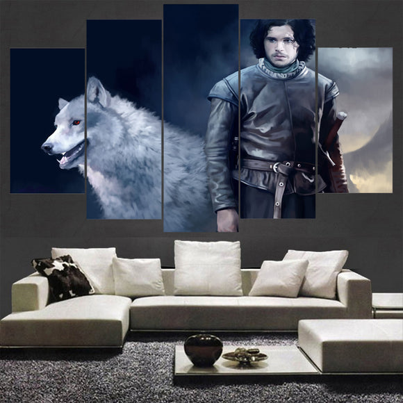 5 Pieces Game Of Thrones Wolf Canvas - Urban Street Canvas