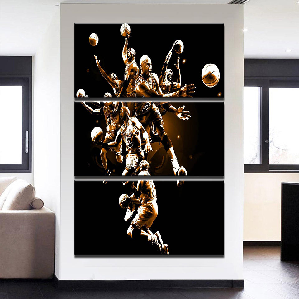 3 Pieces Wall Art Basketball Players Canvas - Urban Street Canvas