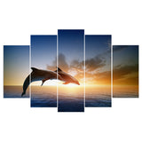 5 Pieces Jumping Dolphins Animal Sunset Seascape Canvas - Urban Street Canvas