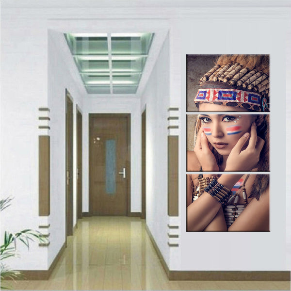 Modular Picture 3 Panel Native American Indian Girl Feathered Canvas - Urban Street Canvas