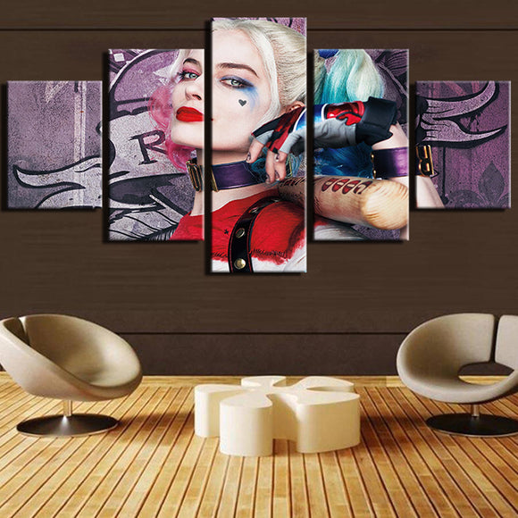 5 Pieces Harley Quinn Canvas - Urban Street Canvas
