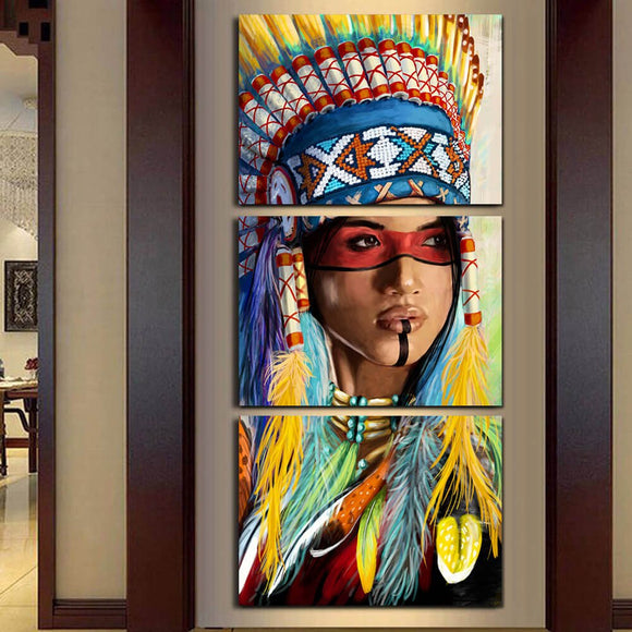 Modern Frame 3 Panel Native American Indian Girl Feathered Canvas