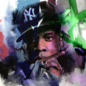 "TOP COOL ART JayZ  100% handpainted oil painting large 24"" Unframed - Urban Street Canvas"
