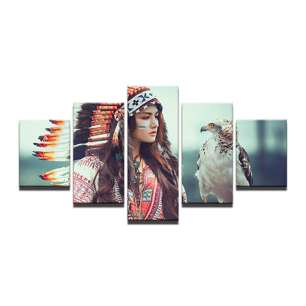 5 Panel Feather Girl Modern Indians Canvas - Urban Street Canvas
