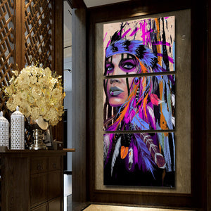 3 Panel Native American Indian Girl Modern Canvas - Urban Street Canvas
