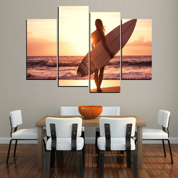 4 Panel Surfing Sunset Landscape Canvas - Urban Street Canvas