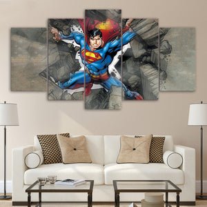 5 Panel Superman Canvas - Urban Street Canvas