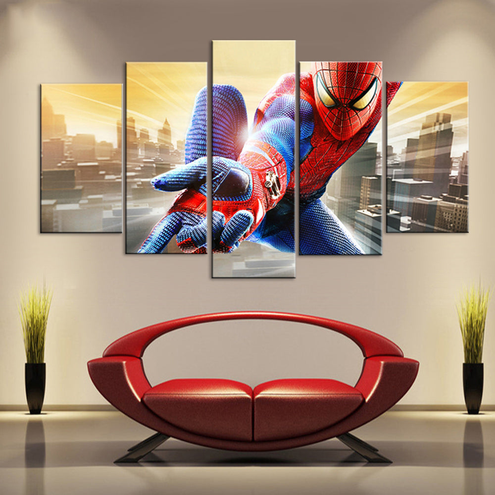 5 Panel Movie Spiderman Character Canvas - Urban Street Canvas