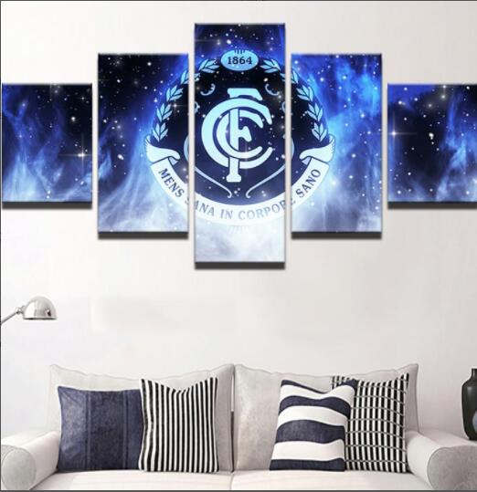 Framed Abstract Modern Home Decor Canvas 5 Panel Football Sport Club Print Painting Wall Art For Living Room Modular Picture - Urban Street Canvas