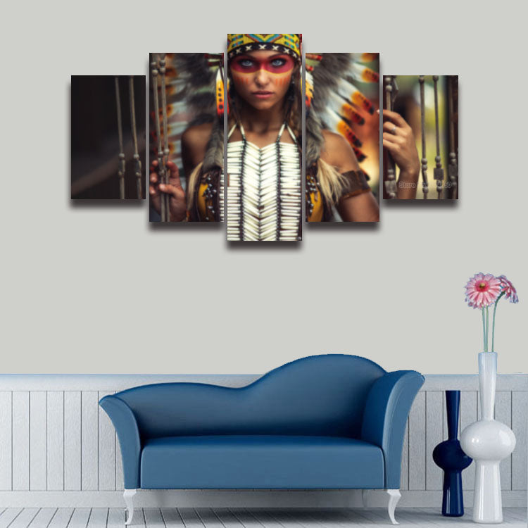 5 panels Printed Native American Indian Canvas - Urban Street Canvas