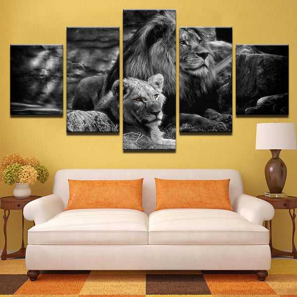 5 Pieces King Of The Forest Lions Canvas - Urban Street Canvas