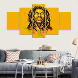 5 Panel Abstract Bob Marley Canvas - Urban Street Canvas