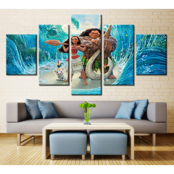 5 Panel Cartoon Moana Character Canvas - Urban Street Canvas