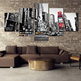 5 Panel City  People Modern Wall Canvas - Urban Street Canvas