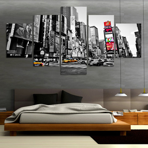 5 Panel City  People Modern Wall Canvas