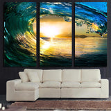 3 Panel Rolling Wave Landscape Canvas - Urban Street Canvas