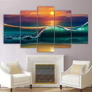 Print 5 Panel Beautiful Ocean Moon Canvas - Urban Street Canvas