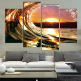 4 Panel The Wall Rolling Wave Canvas - Urban Street Canvas