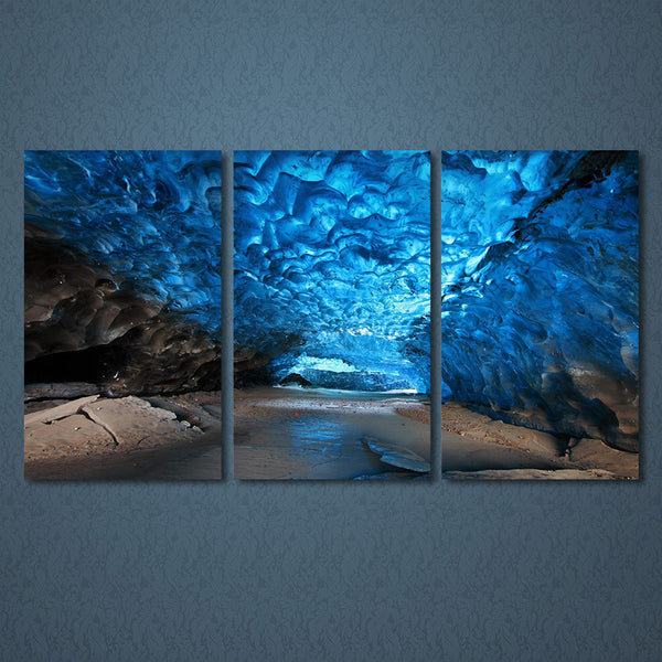 3 Panels Canvas Art Ice Cave Canvas - Urban Street Canvas