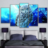 5 Pieces Virtual Space Animation Owl Wall Art Canvas - Urban Street Canvas
