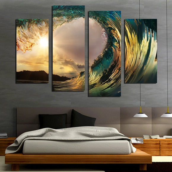 4 Panel Rolling Wave Sunrise Canvas - Urban Street Canvas