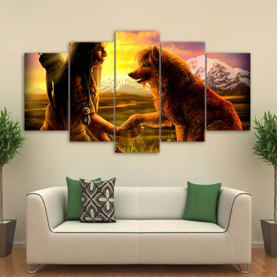 Brand new 5 Piece Canvas Art Abstract The Indian Painting – Urban Street Canvas LP79