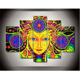 Modern On The Wall Art Modular Pictures 5 Panel Colorful Face For Living Room Home Decoration Abstract Painting On Canvas - Urban Street Canvas