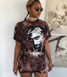 Womens Club Party Retro Tupac  Loose T-Shirt Dress - Urban Street Canvas