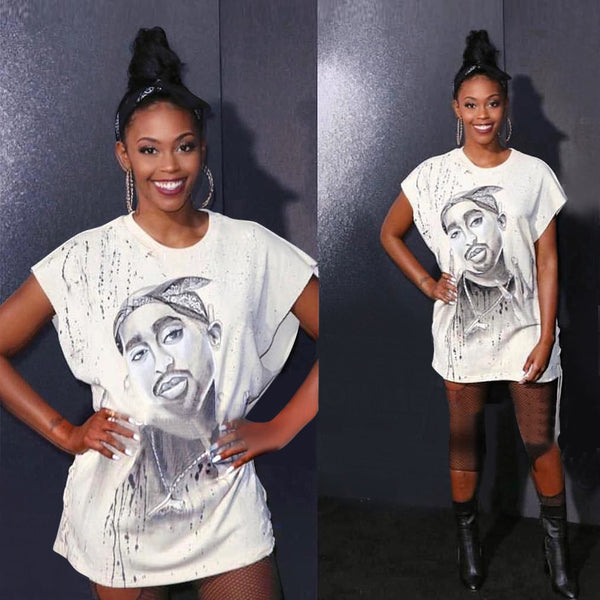 Women Sleeveless Illustration Tupac Printed T Shirt Dress - Urban Street Canvas
