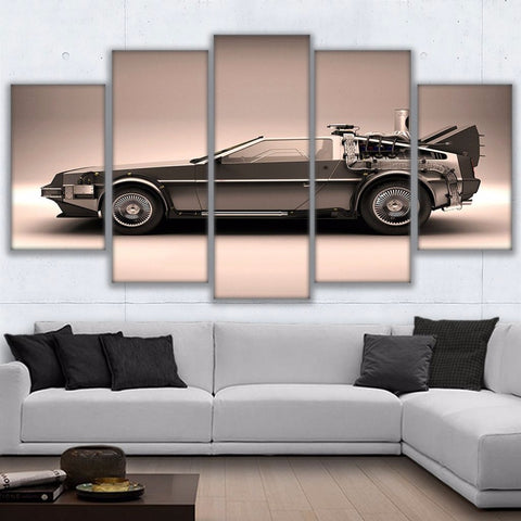 5 Pieces Back To The Future Canvas Delorean