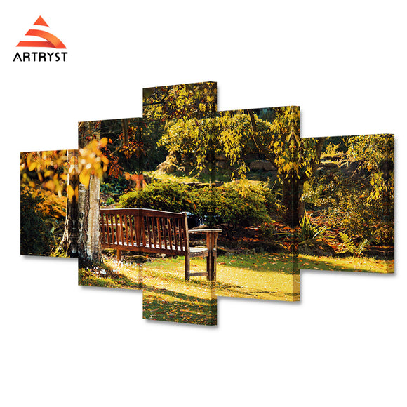 5 pieces home decor canvas painting autumn park tree benches landscape poster HD print on canvas wall art picture for the study - Urban Street Canvas