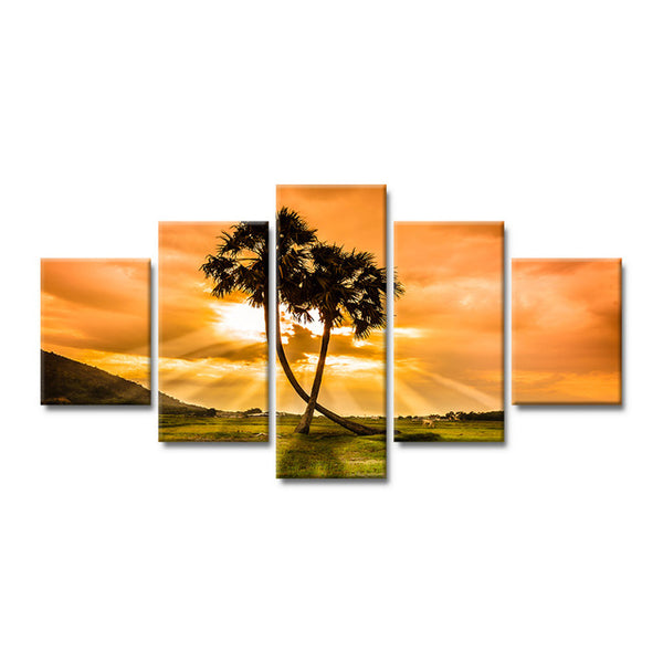 5 pieces home decor canvas painting sunshine coconut tree clouds landscape poster HD printing wall art picture for kids room - Urban Street Canvas