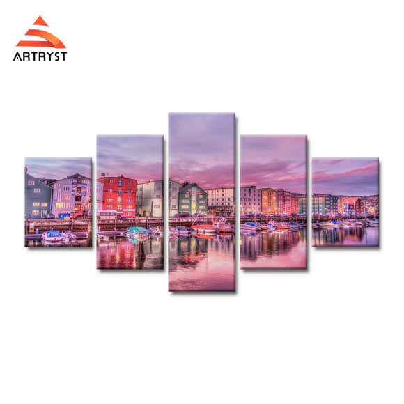 5pieces modern home decor canvas painting pink boat house landscape poster HD printed on canvas wall art picture for living room - Urban Street Canvas