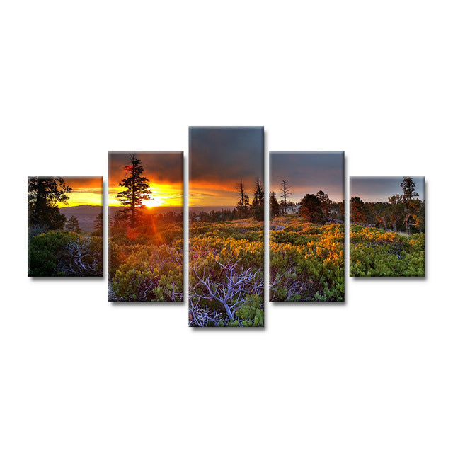 5 pieces modern home decoration canvas painting sun tree landscape poster HD printing wall art picture for the living room - Urban Street Canvas