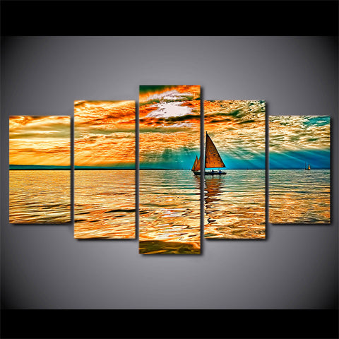 5 Panel Sailing Landscape Canvas - Urban Street Canvas